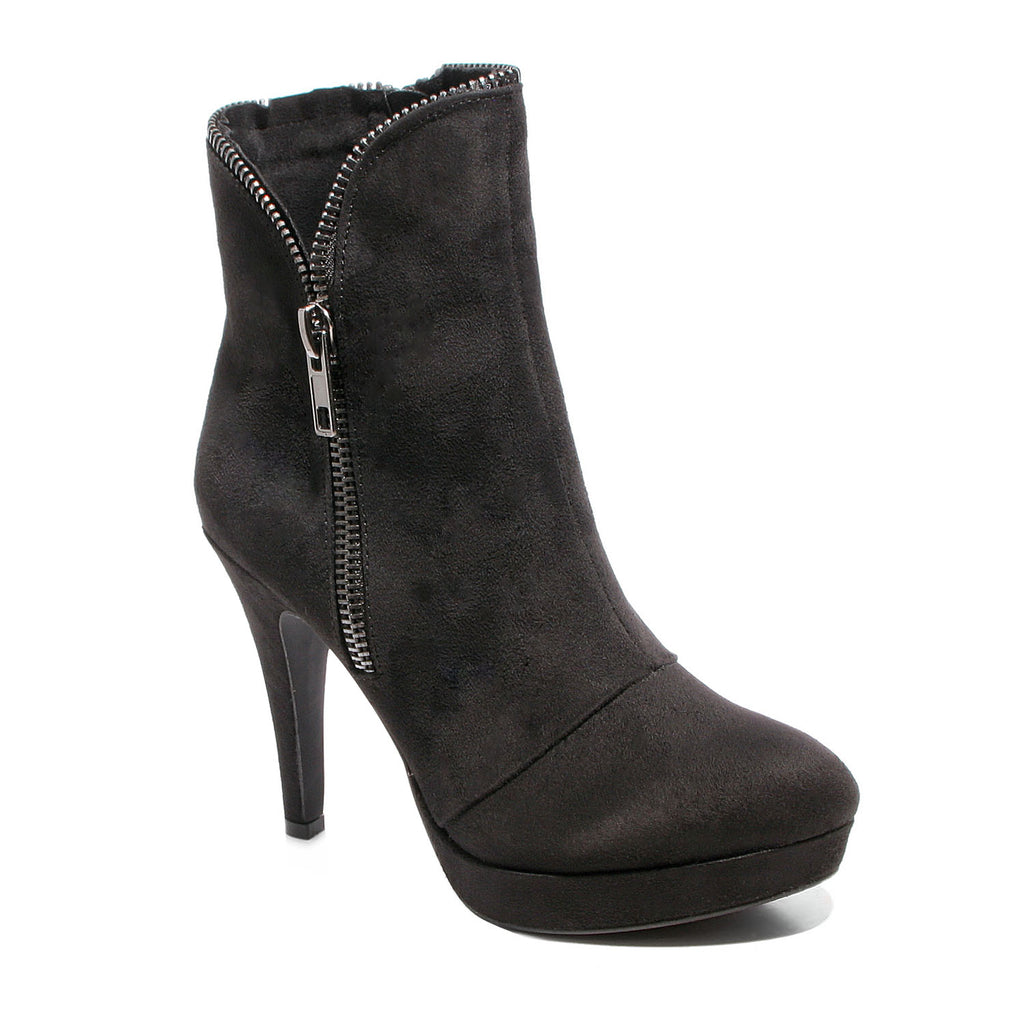 Three quarter view black platform bootie with side zipper