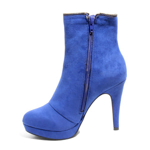 Inside side view blue platform bootie with side zipper