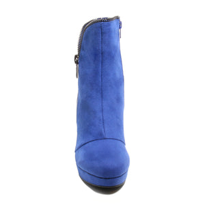 Front view blue platform bootie with side zipper