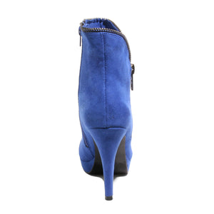 Back view blue platform bootie with side zipper