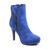 Three quarter view blue platform bootie with side zipper