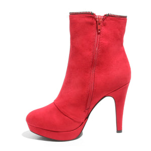 Inside side view red platform bootie with side zipper