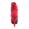 Back view red platform bootie with side zipper