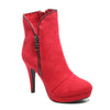 Three quarter view red platform bootie with side zipper