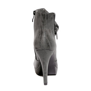 Back view black color stylish platform bootie with asymmetrical zipper detail