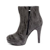 Inside side view black color stylish platform bootie with asymmetrical zipper detail