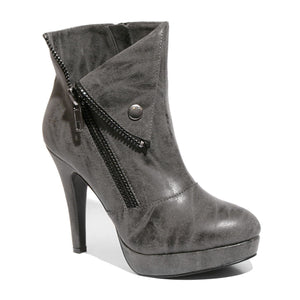 Three quarter view black color stylish platform bootie with asymmetrical zipper detail