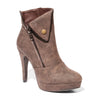 Three quarter view brown color stylish platform bootie with asymmetrical zipper detail