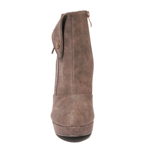 Front view brown color stylish platform bootie with asymmetrical zipper detail