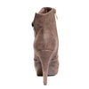 Back view brown color stylish platform bootie with asymmetrical zipper detail