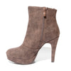 Inside side view brown color stylish platform bootie with asymmetrical zipper detail