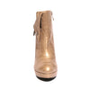 Front view champagne color stylish platform bootie with asymmetrical zipper detail