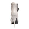 Back view ice color stylish platform bootie with asymmetrical zipper detail