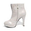 Inside side view ice color stylish platform bootie with asymmetrical zipper detail