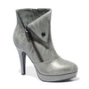 Three quarter view khaki color stylish platform bootie with asymmetrical zipper detail