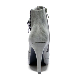 Back view khaki color stylish platform bootie with asymmetrical zipper detail