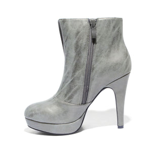 Inside side view khaki color stylish platform bootie with asymmetrical zipper detail