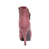 Back view red color stylish platform bootie with asymmetrical zipper detail