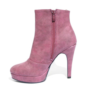 Inside side view red color stylish platform bootie with asymmetrical zipper detail