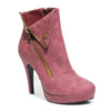 Three quarter view red color stylish platform bootie with asymmetrical zipper detail