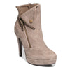 Three quarter view taupe color stylish platform bootie with asymmetrical zipper detail