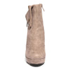 Front view taupe color stylish platform bootie with asymmetrical zipper detail