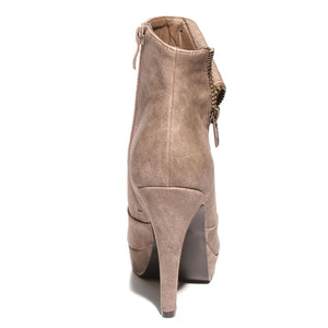 Back view taupe color stylish platform bootie with asymmetrical zipper detail
