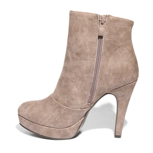 Inside side view taupe color stylish platform bootie with asymmetrical zipper detail