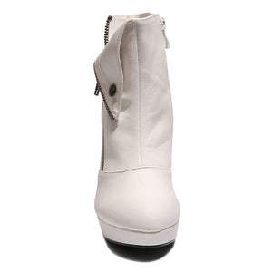 Front view white color stylish platform bootie with asymmetrical zipper detail