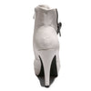 Back view white color stylish platform bootie with asymmetrical zipper detail