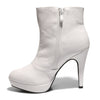 Inside side view white color stylish platform bootie with asymmetrical zipper detail