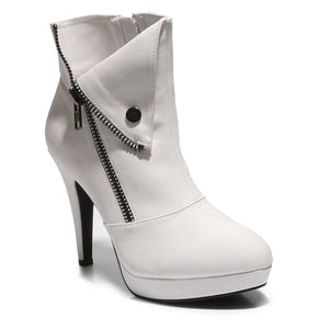 Three quarter view white color stylish platform bootie with asymmetrical zipper detail