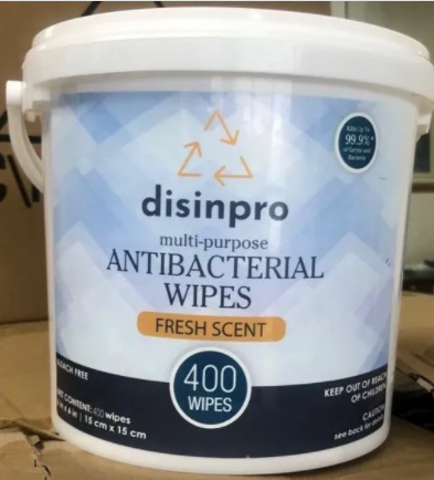Disinpro 400 Antibacterial Wipes Bucket - FDA Registered Active Ingredient.