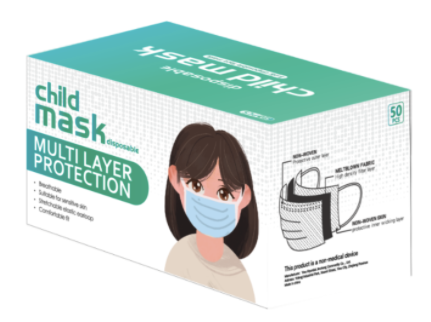 Disposable 3PLY CHILDS  Face Mask -PLAIN- 50/box ( 2000/case) 24 cases to a Pallet ) FDA Cert Wholesale Minimum Order Quantity 50,000