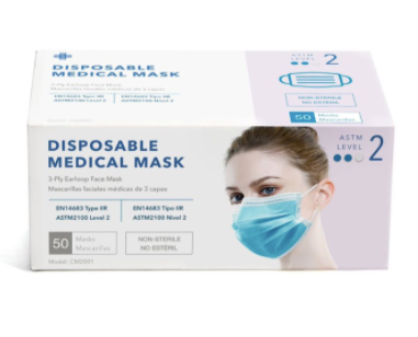 Level2 DISPOSABLE FACE MASK (510K) - 50/box - Wholesale Minimum Order Quantity 50,000