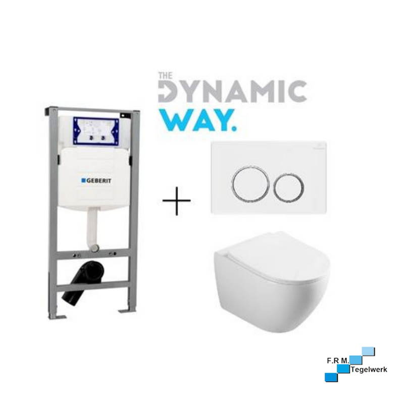 Dynamic Way toiletset: wandcloset, bedieningsplaat en inbouwreservoir