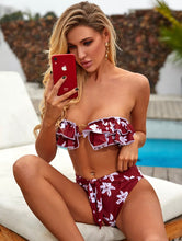 Load image into Gallery viewer, TROPICS RUFFLE FLORAL KNOTTED SWIM SET