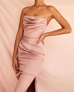 ROCHELLE STRAPLESS DRAPED FITTED GOWN