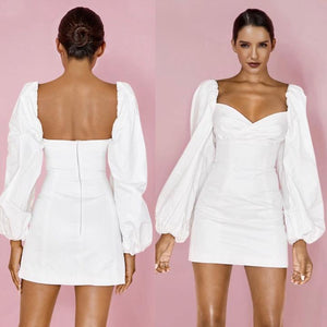 ONA WHITE PUFF SLEEVE FITTED MINI DRESS