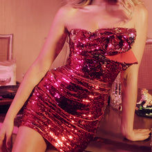 Load image into Gallery viewer, KEEMA STRAPLESS SEQUIN FITTED MINI DRESS