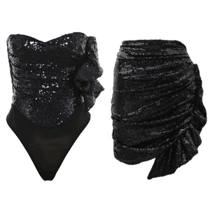 KELLY STRAPLESS SEQUIN RUFFLE DRESS