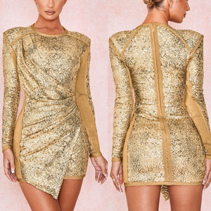 MISS GLOW SEQUIN FITTED LONG SLEEVE DRESS
