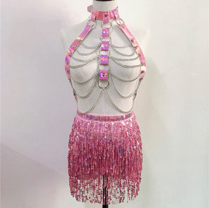 JOZI HARNESS SEQUIN TASSEL SET