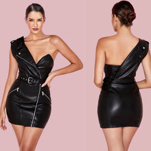 Load image into Gallery viewer, KENNA ONE SHOULDER LEATHERETTE ZIPPIER DRESS