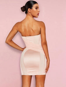 SKYLAR STRAPLESS PLUNGE PUSH UP FITTED MINI DRESS