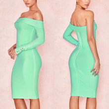 Load image into Gallery viewer, PAIGEY OFF SHOULDER BANDAGE DRESS