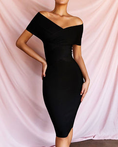 ANTON X OFF SHOULDER BANDAGE DRESS
