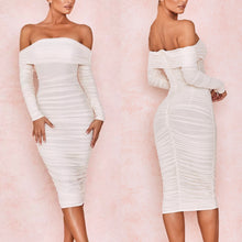 Load image into Gallery viewer, FANNI X OFF SHOULDER MESH RUCHED MIDI DRESS