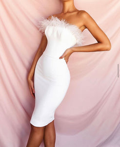 DREAUX WHITE STRAPLESS FEATHER BANDAGE DRESS