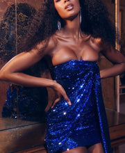 Load image into Gallery viewer, DIVA STRAPLESS DRAPED SEQUIN DRESS